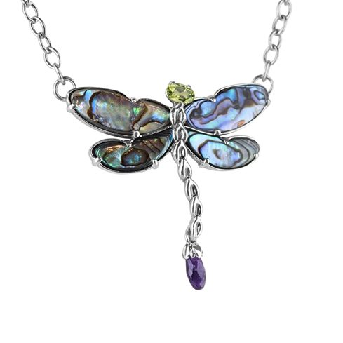 Wings Sterling Silver Multi Gemstone Pendant Necklace