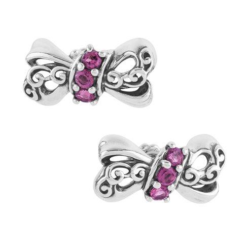 Garnet Bow Shaped Earrings