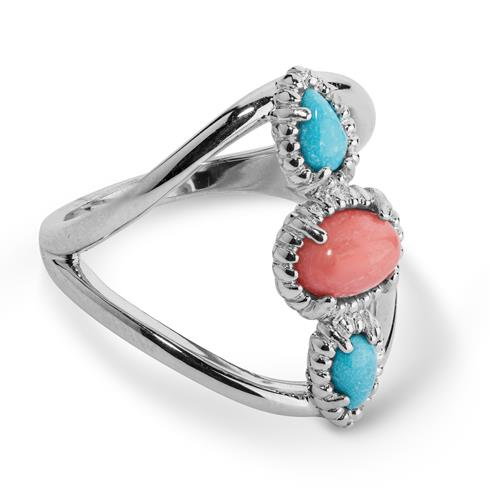 JEN Sterling Silver Salmon Coral and Turquoise Three Stone Ring