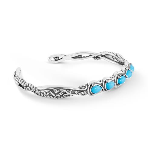 Simply_Fabulous_Sterling_Silver_&_Turquoise_Five_Stone_Cuff_Bracelet
