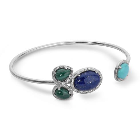 JEN_Sterling_Silver_Turquoise_Malachite_and_Lapis_Gemstone_4Stone_Cuff_Bracelet