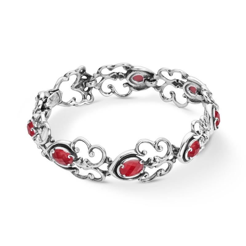 Sterling Silver Red Coral Doublet Gemstone Link Bracelet