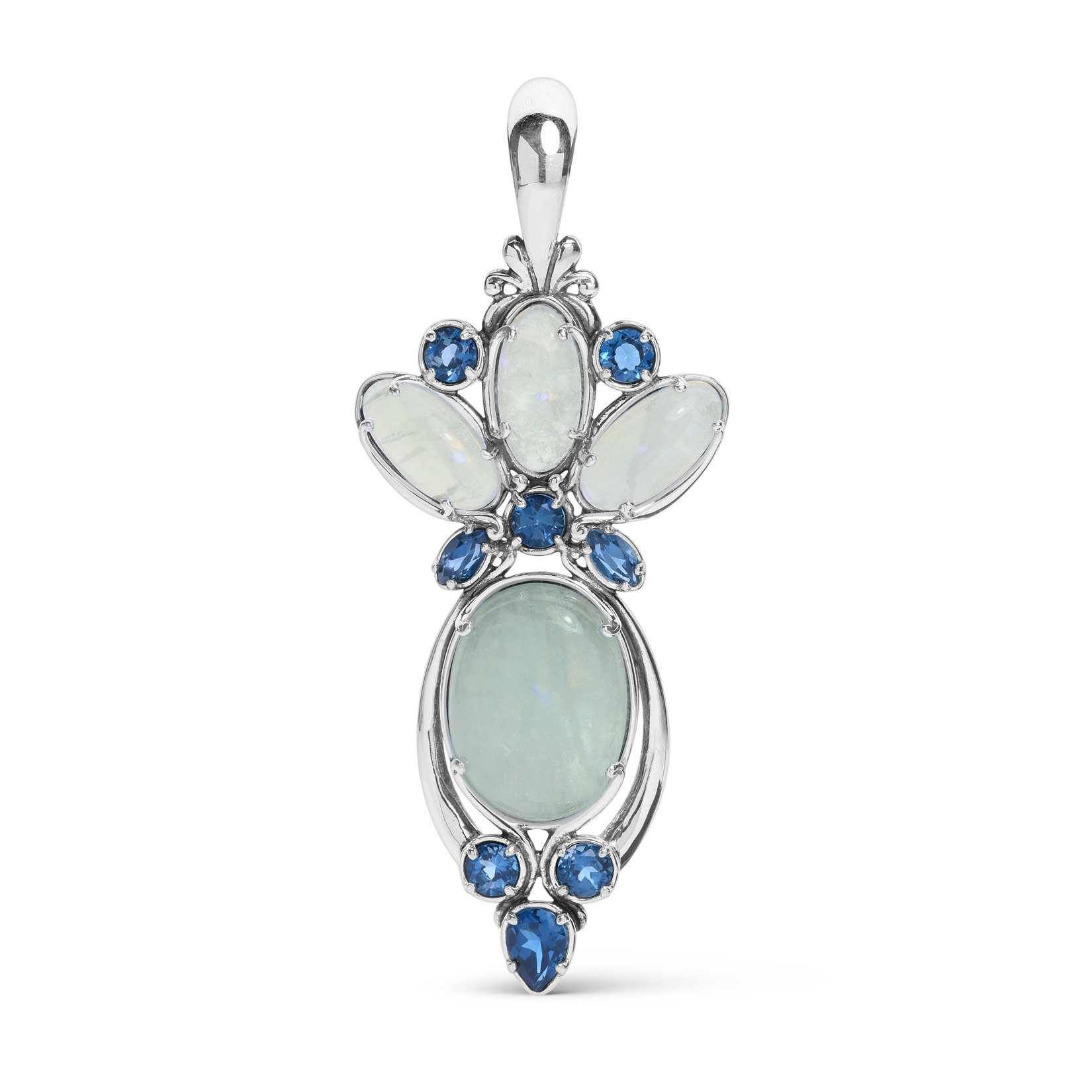 Couture_Limited_Edition_925_Sterling_Silver_Aquamarine_and_Blue_Topaz_Gemstone_Drop_Pendant_Enhancer