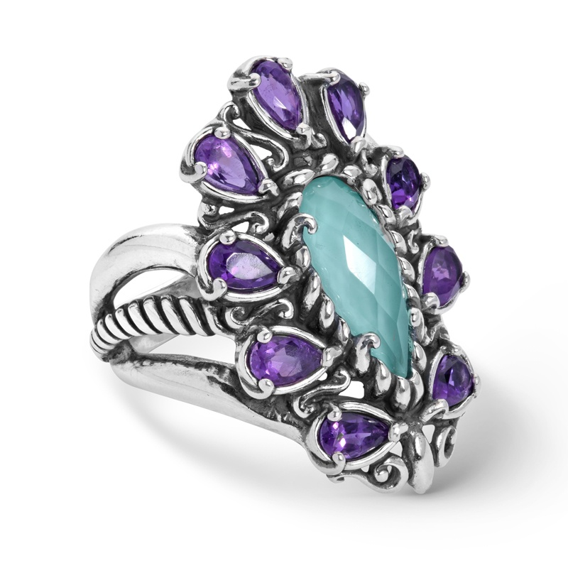 Sterling Silver Amethyst and Turquoise Doublet Ring